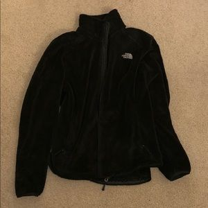 Fuzzy black north face jacket